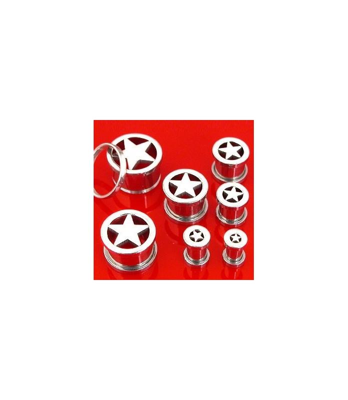Stål piercing-plug med udskåret stjerne