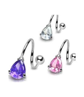 Superflot navletwister piercing med tear-drop juvel