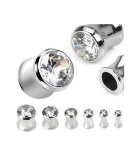 -Saddle plug piercing  med enkelt CZ