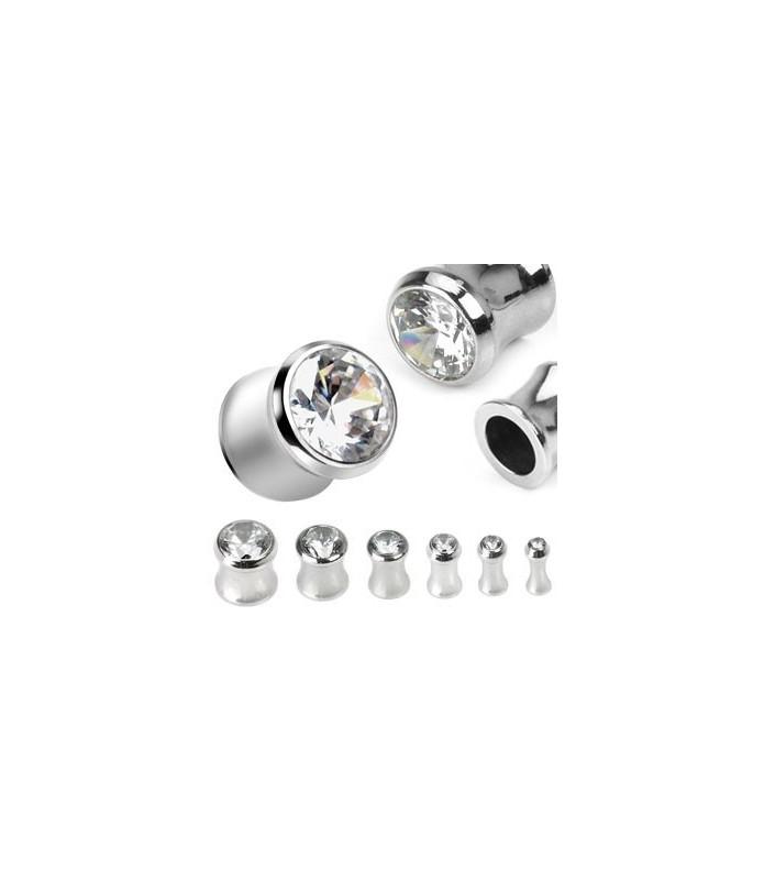 Saddle plug piercing  med enkelt CZ