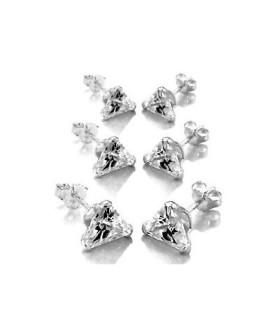 Øresticker i sølv - triangle Zirconia