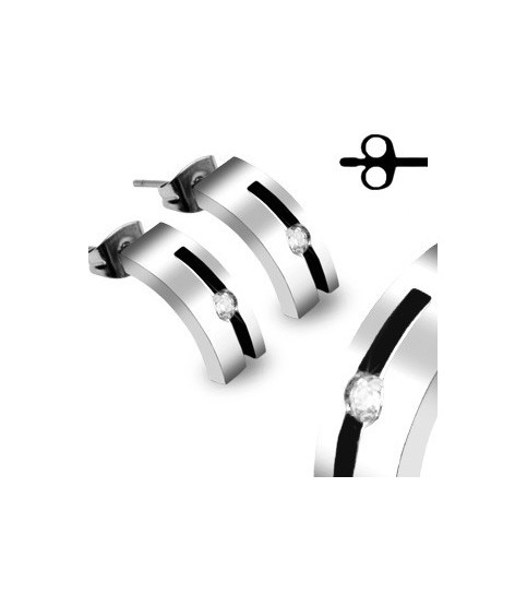 Stilfulde øre ringe med CZ - kirurgisk stål