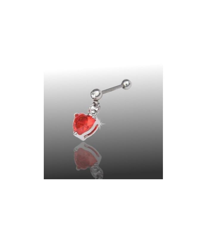 Flot tragus piercing med hjerteformet krystal