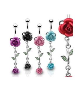 Navlepiercinger med stål-rose og blomsterranke