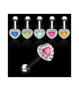 Flotte tungepiercing smykker med hjerteformet top