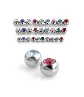 Piercing kugler med krystaller G16 i mange farver