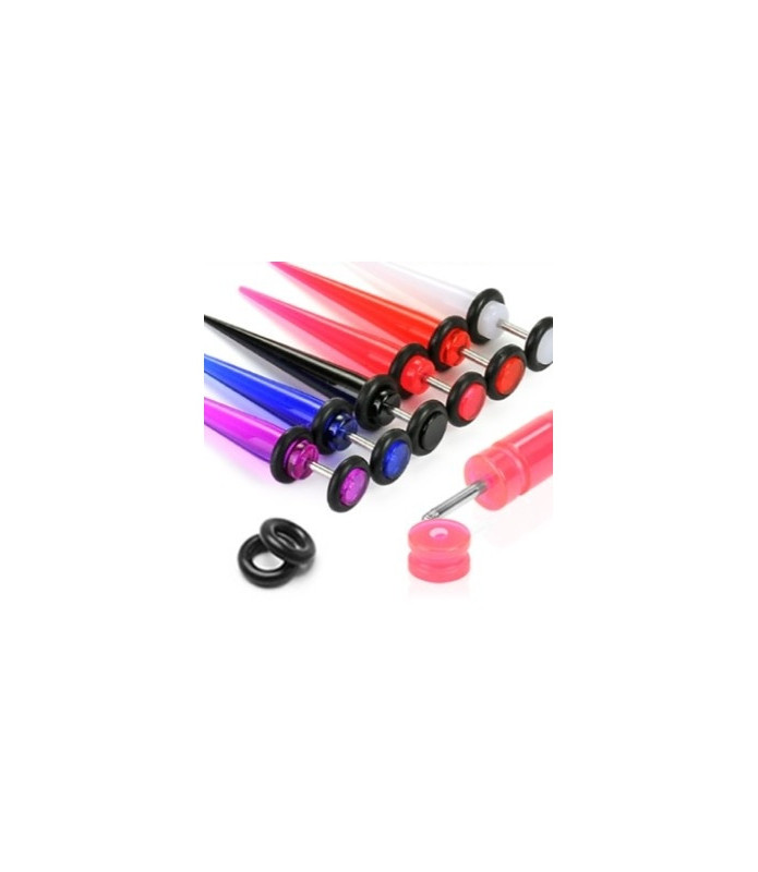 Fake Taperpiercing i 6 flotte farver.