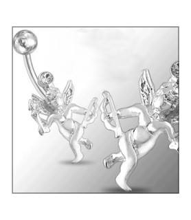 Sølv navlepiercing med Amor/Cupido
