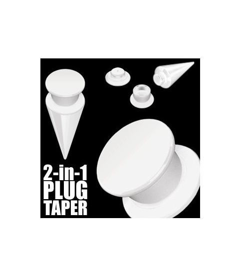 2 i 1 øreplug-taper hvid akryl