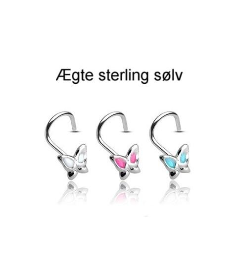Sød næsepiercing i ægte sølv med sommerfugl