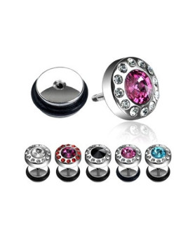 Fake plug piercing med cz - mange flotte farver