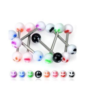-Tungepiercinger med smiley - mange forskellige farver