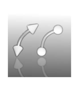 Øjenbrynspiercing med hvide cones eller kugler