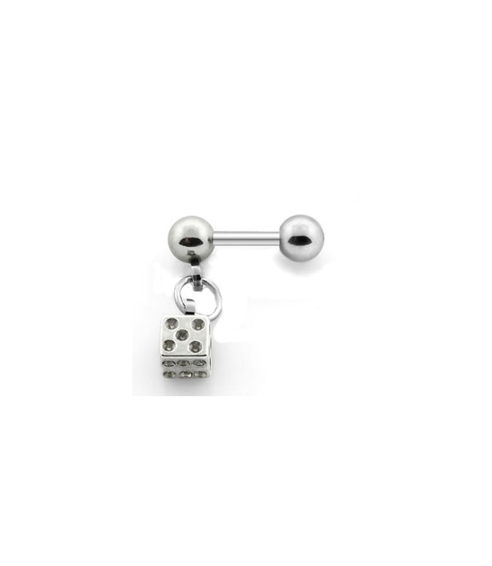 Tragus piercing med vedhæng og CZ