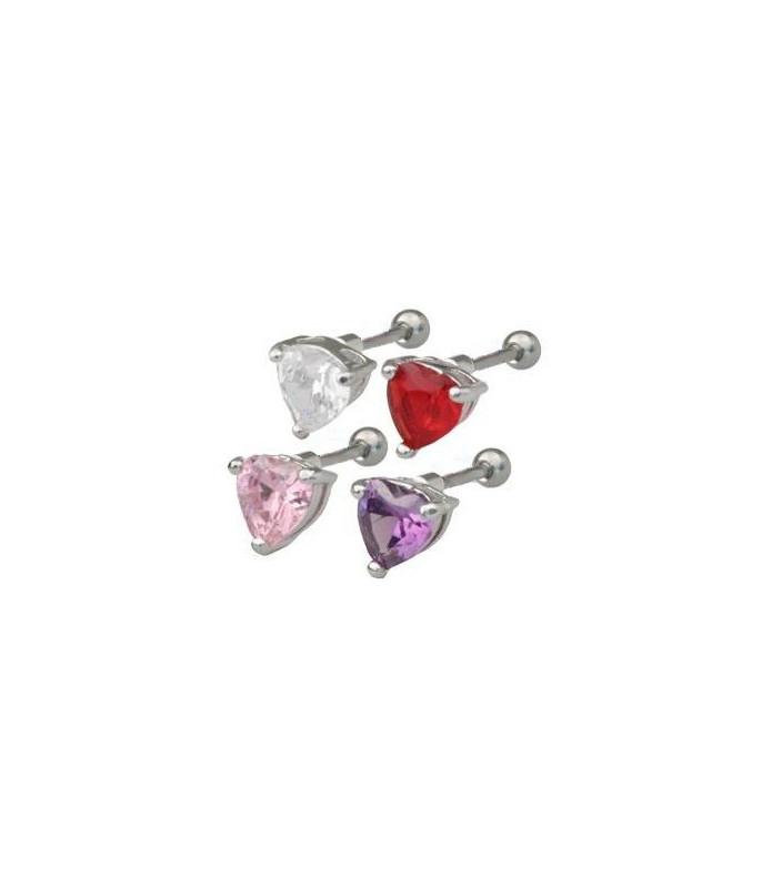 Flot tragus piercing med swarovski hjerte