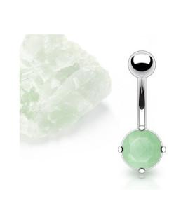 Navlepiercing med ægte grøn Jade sten