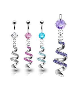 Navlepiercinger med krystalbesat spiral vedhæng