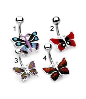 Super søde håndmalede navlepiercinger med sommerfugle