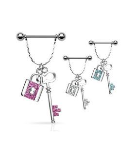 Brystpiercing med hængelås og nøgle - flere farver
