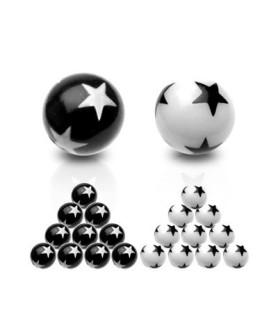 Kugler med stjerner til f.eks. tungepiercing