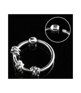 Næsering piercing i rent sølv - med 3 x tvist sølvtråd