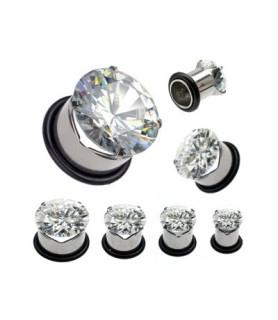 Øreplug til stretch med stor diamantklar krystal