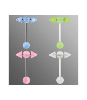 Selvlysende tungepiercing - T-bar