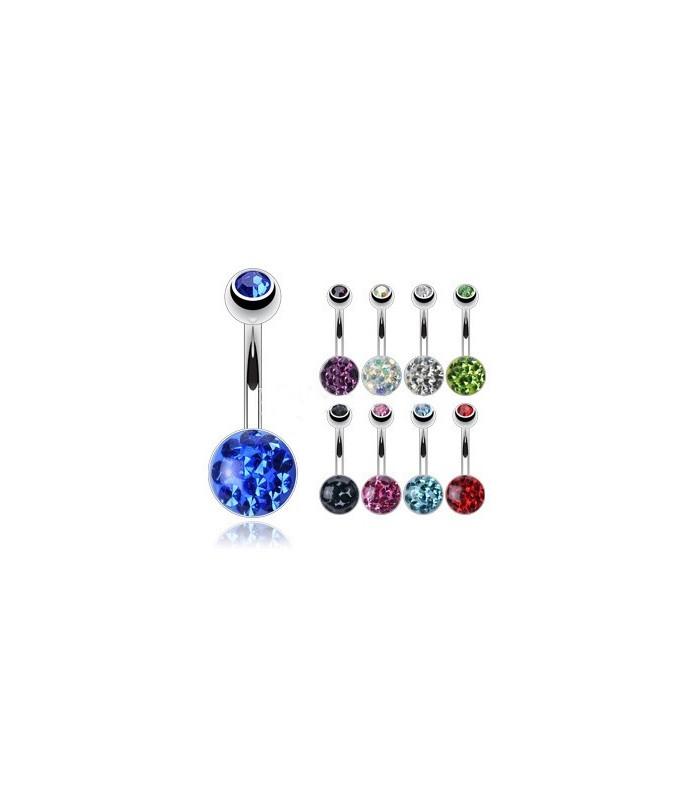 Superflot navlepiercing fyldt med flotte klare krystaller