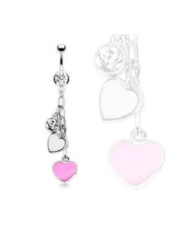 Romantisk navlepiercing med pink og hvide hjerter