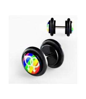 Fake plug piercing rainbow GAY