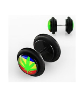 Fake plug piercing med Hamp og rainbow rasta