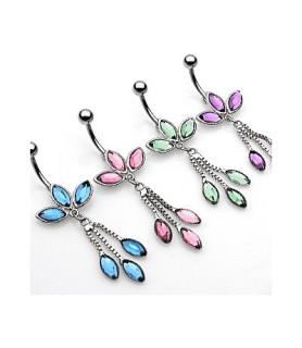 -Navlepiercinger Petal med 6 ovale krystaller