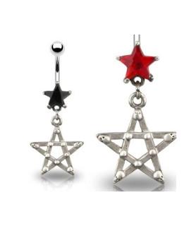 Navlepiercing - Goth stil med pentagram