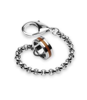 Sejt 316L rustfrit stål armbånd med ring som lukketøj.