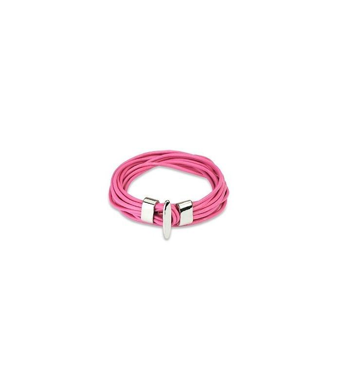 Multistring Pinkfarvet læderarmbånd