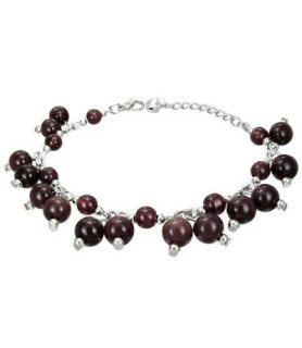 """Flot kvinde-armbånd med sorte/brune """"perler"""""""