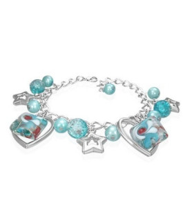 Armbånd med blå runde krystaller og hjerter