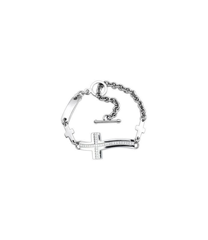 Utroligt flot Rustfrit stål armbånd med juvelbesat buet kors og stålkæde