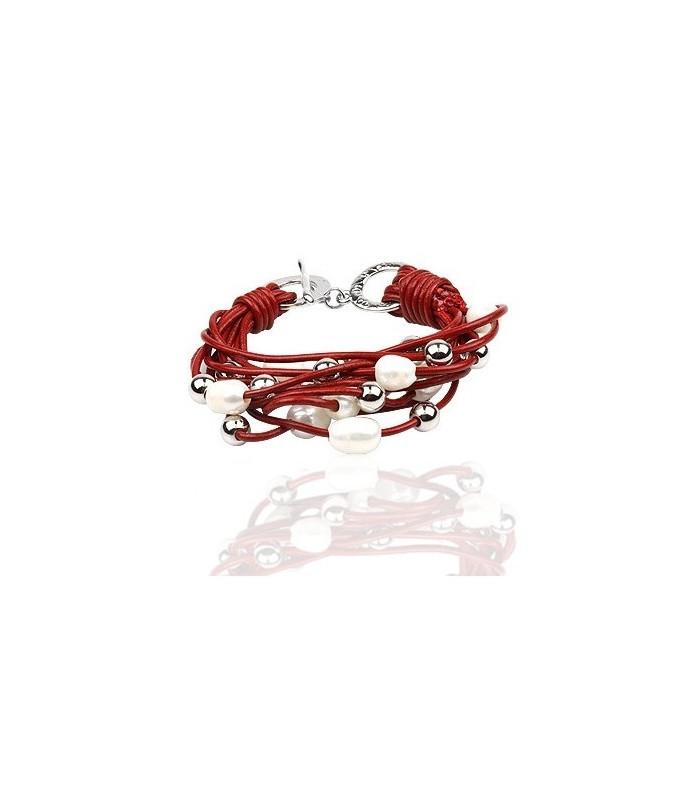 Rødt læderarmbånd med perler og stålkugler