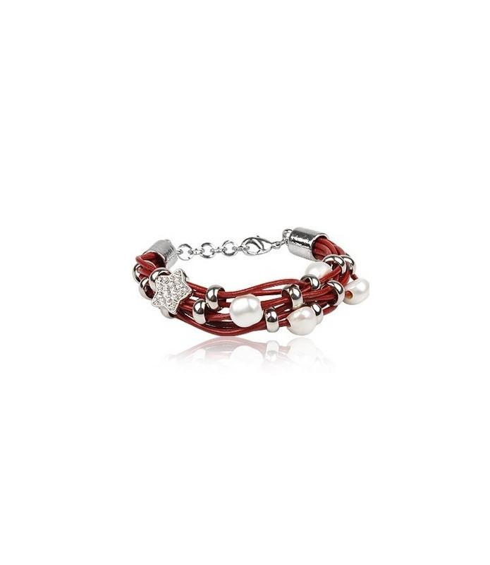 Rødt læderarmbånd med perler og Swarovski besat stjerne