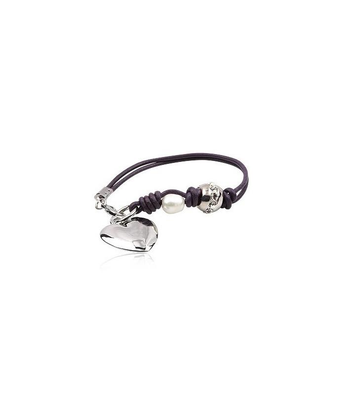 Mørk lilla læderarmbånd med naturperler og Hjerte- charm