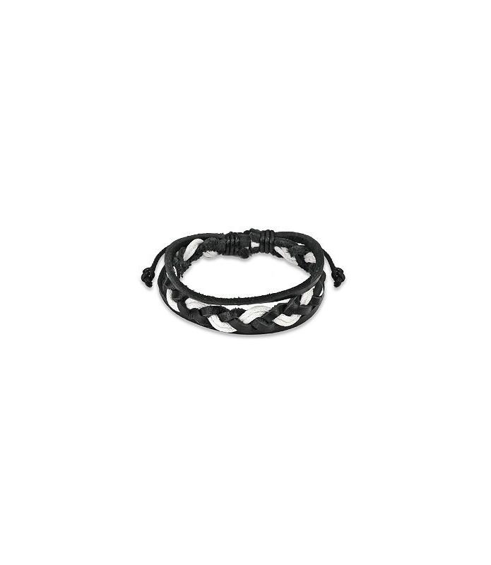 Læderarmbånd  sort hvid 3 flet