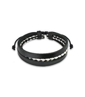Læderarmbånd  sort hvid rundflet