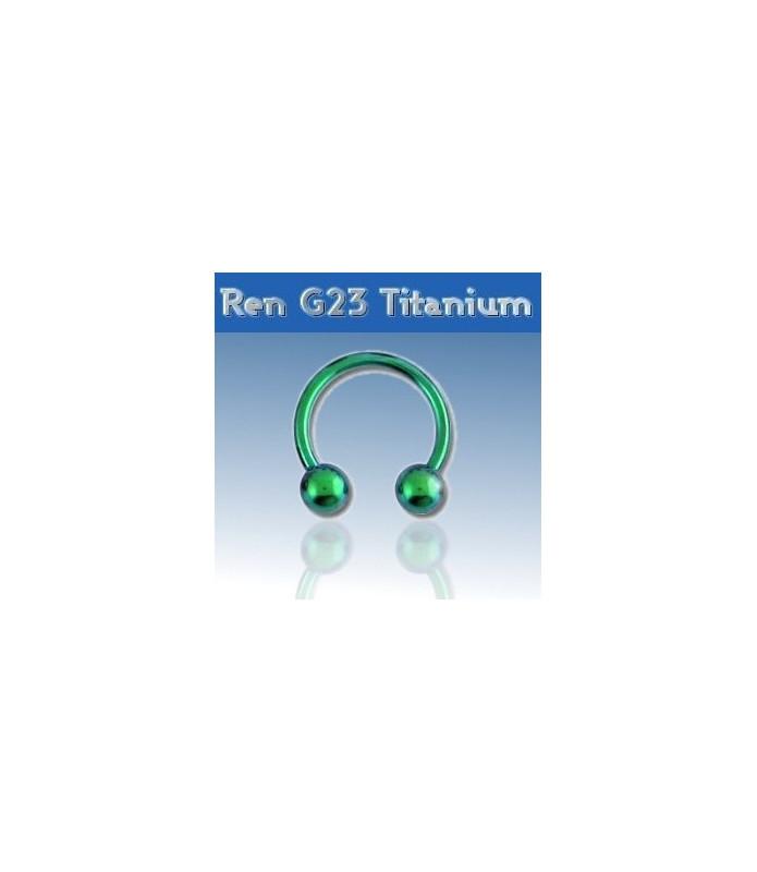 Grøn titanium hestesko piercing