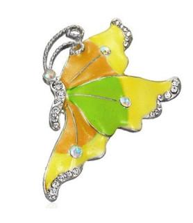Broche - stor sommerfugl i gul/grønne nuancer