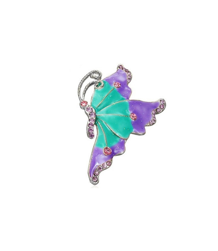 Broche - stor sommerfugl i Aquamarin/lilla nuancer