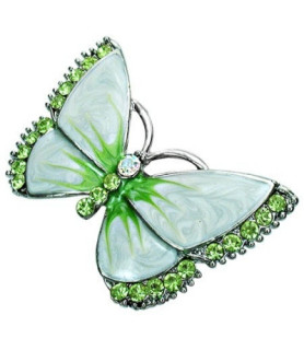 sommfugl-broche i grønne nuancer