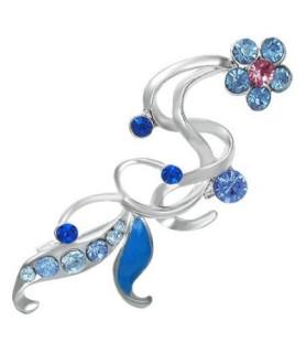 Broche med blå/røde blomster
