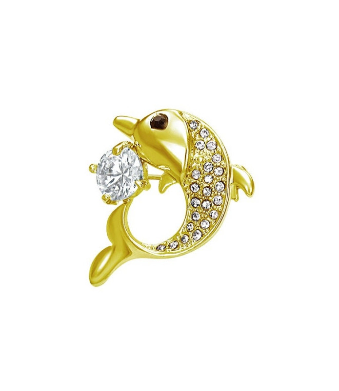 Brocher med guldbelagt delfin og stor krystal.