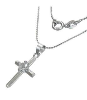 Flot halskæde med kristent kors og cz.